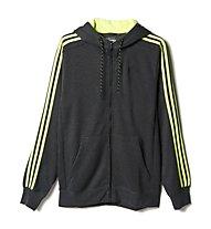 Adidas Essentials 3S FZ Hoodie Fleece, Grey Heather/Solar Yellow
