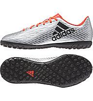 Adidas X 16.4 TF Jr - scarpa da calcio bambino, Silver/Red