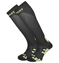 BV Sport Xlr Calzini Lunghi Running, Black/Light Green