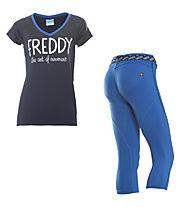 Freddy Pantaloni 3/4 + T-shirt ginnastica donna, Navy/Dark Blue