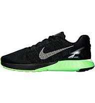 Nike LunarGlide 7 LB Scarpa Running, Black/Metallic Pewter/Green