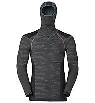 Odlo Blackcomb Evolution warm LS with facemask, Concrete Grey/Black/Blue