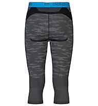 Odlo Blackcomp Evolution warm Pants 3/4 lange Unterhose, Concrete Grey/Black/Blue