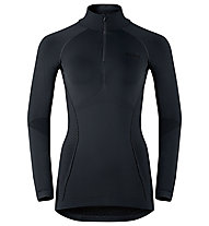 Odlo Evolution warm Shirt l/s Turtle neck 1/2 Zip langärmliges Damen-Funktionsshirt mit Stehkragen, Black/Odlo Graphite Grey