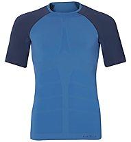 Odlo Evolution Warm Shirt SS crew neck, Directire Blue/Navy Blue