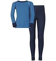 Odlo Set Longsleeve + Pants Warm Kids, Directoire Blue/Navy New