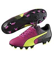 Puma evoSpeed 4.5 Tricks FG - scarpe da calcio, Pink/Yellow
