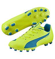 Puma EvoSpeed 5.4 AG Jr - Kinderfußballschuhe, Light Yellow/Dark Blue