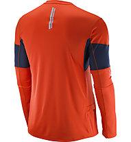 Salomon Agile LS Tee M Herren Langarm Laufshirt, Orange/Blue