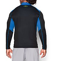 Under Armour UA Coldgear Infrared Grid 1/2 Zip Mock maglia running, Black/Blue Jet/High-Vis Yellow