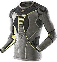 X-Bionic Maglia funzionale Apani Merino Man UW Shirt LG_SL Round Neck, Black/Yellow